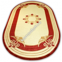 0058A CREAM-BORDEAUX OVAL